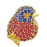 Jean Vitau 18K Yellow Gold with Rubies, Sapphires and 11 Diamonds Chickadee Brooch