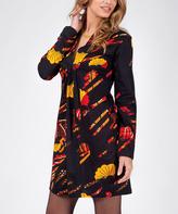 Aller Simplement Black & Yellow Tie-Front Shift Dress