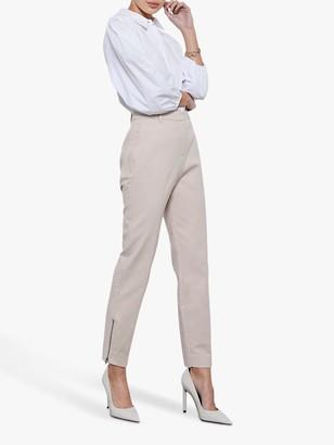 Mint Velvet Zip Crop Capri Trousers, Light Pink