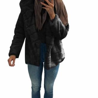 Kalorywee Sale Women Mink Coats Winter Hooded New Faux Fur Jacket Warm Thick Outerwear Jacket Black