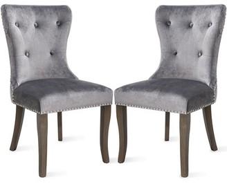 Rosdorf Park Walmsley Tufted Velvet Upholstered Parsons Chair in Gray