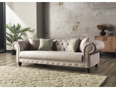 """Thumbnail for your product : Rosdorf Park Donagh 91"""" Rolled Arm Chesterfield Sofa Fabric: Cream Cotton Blend"""