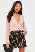 Missguided Black High Waisted Lace Shorts