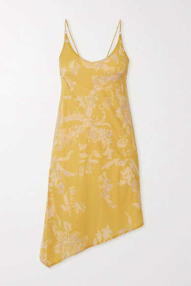 Thumbnail for your product : IOANNES Open-back Asymmetric Floral-print Stretch-jersey Mini Dress - Yellow