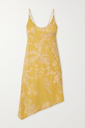 IOANNES Open-back Asymmetric Floral-print Stretch-jersey Mini Dress - Yellow