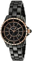 Stuhrling Original Fusion 530 Women's Quartz Watch with Black Dial Analogue Display and Black Ceramic Bracelet 530.114OB1