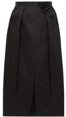Prada Rosette-waist Duchess Satin Skirt - Womens - Black