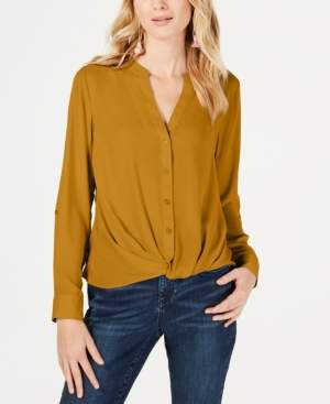 INC International Concepts Inc Petite Twist-Front Button-Up Top, Created for Macy's