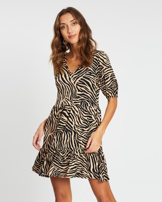 Dorothy Perkins Zebra V-Neck Mini Fit-and-Flare Dress