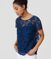 LOFT Split Back Lace Top