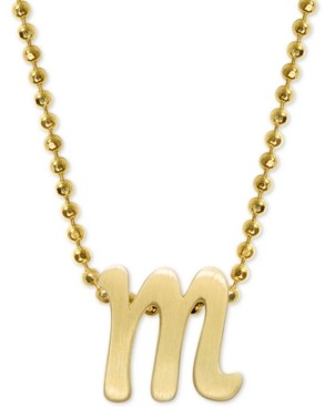 """Alex Woo Scripted Initial 16"""" Pendant Necklace in 14k Gold"""