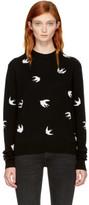 McQ Black Swallows Crewneck Sweater
