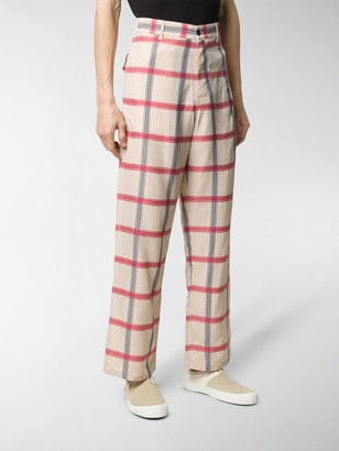 Marni Wide Leg Gingham Print Trousers