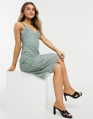 Vila boho lace trim cami dress in green