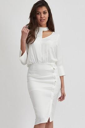 Liquorish White Choker Neck Long Sleeve Midi Dress