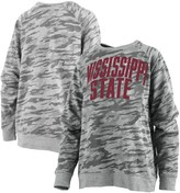 Unbranded Women's Pressbox Camo Mississippi State Bulldogs Gulfport Applique French Terry Crewneck Pullover Sweatshirt