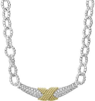 Lagos Caviar Lux Diamond X-Wrap Chain Necklace w/ 18k Gold