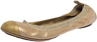 Chanel Iridescent Gold Fabric And Suede Scrunch CC Cap Toe Ballet Flats Size 39