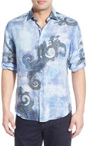 Bugatchi Men's Shaped Fit Paisley Sport Shirt