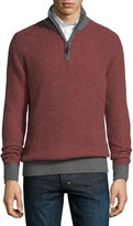 Neiman Marcus Textured Cashmere Quarter-Zip Sweater, Claret/Gray Flannel