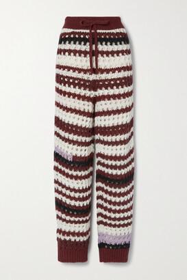 Marni - Striped Crochet-knit Straight-leg Pants - Cream