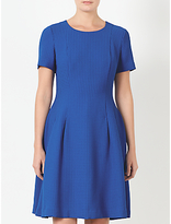 John Lewis Fit And Flare Dogstooth Dress, Blue
