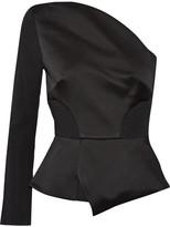 Roland Mouret One-shoulder Satin And Crepe Top - Black