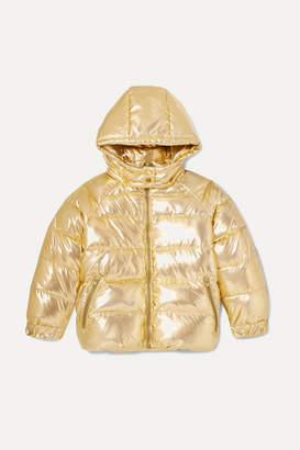 Stella McCartney Hooded Quilted Metallic Shell Jacket - Gold