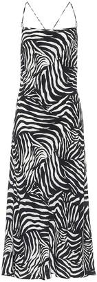 Rixo Sylvie zebra-print midi dress