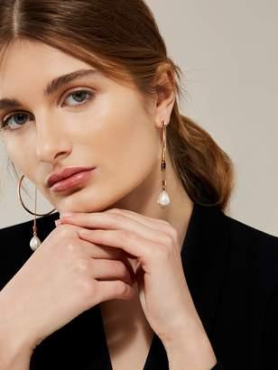 Karen Millen Modern Pearl Hoop Earrings