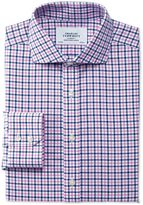 Charles Tyrwhitt Slim Fit Cutaway Collar Non-Iron Royal Oxford Check Blue and Pink Cotton Formal Shirt Single Cuff Size 16/35