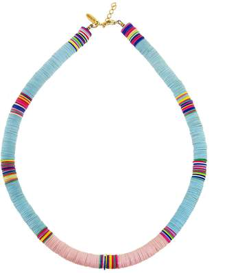 Allthemust Large Light Blue and Light Pink Heishi Bead Necklace - Yellow Gold