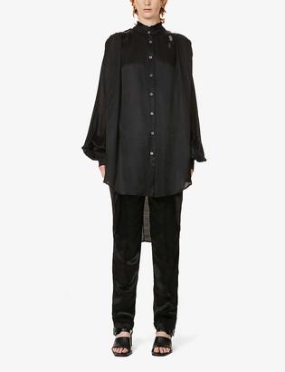 Ann Demeulemeester Frilled-collar crepe-satin shirt