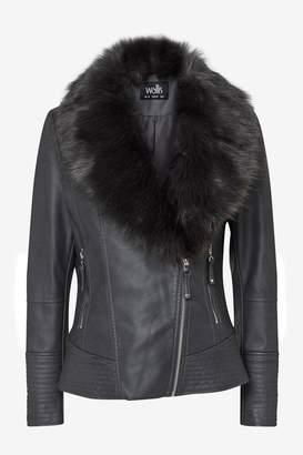 Wallis Grey Fur Collar Faux Leather Jacket