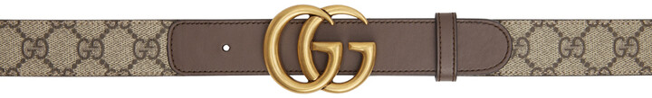 Thumbnail for your product : Gucci Beige & Brown GG Supreme Belt