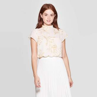 A New Day Women's Floral Print Flutter Short Sleeve Turtleneck Blouse Cream