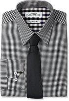 Nick Graham Men's Micro Gingham Dress Shirt with Tie