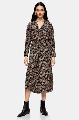 Topshop Ditsy Chuck On Midi Shirt Dress