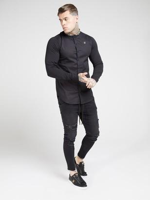 SikSilk Long Sleeve Tape Collar Shirt - Black