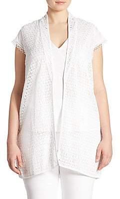 Joan Vass Joan Vass, Plus Size Women's Open-Front Lace Vest