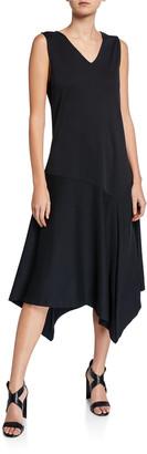 Joan Vass V-Neck Tank Dress with Asymmetric Hem