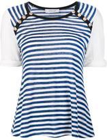 Derek Lam 10 Crosby striped shortsleeved T-shirt - women - Linen/Flax - M