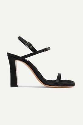 Dries Van Noten Quilted Satin Slingback Sandals - Black