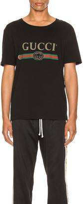Gucci Logo Oversize Washed Tee in Black & Green & Red & Crop | FWRD