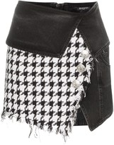 Balmain Houndstooth Denim Wrap Mini-Skirt