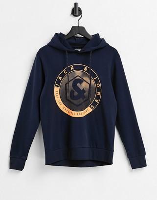 Jack and Jones emblem logo hoodie in navy
