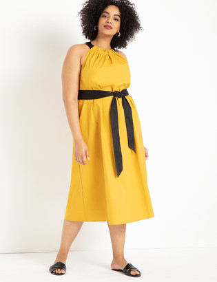 ELOQUII Halter Midi Dress with Contrast Belt