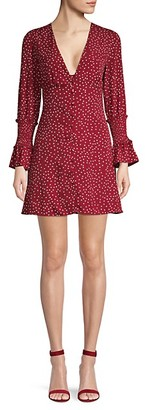 Ruffle-Trimmed Dotted Button-Front Dress
