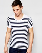 G Star G-Star T-Shirt Ramic Stripe Vneck in White and Blue