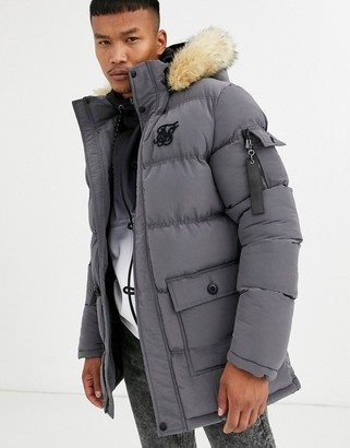 SikSilk puffer parka jacket with faux fur hood in grey